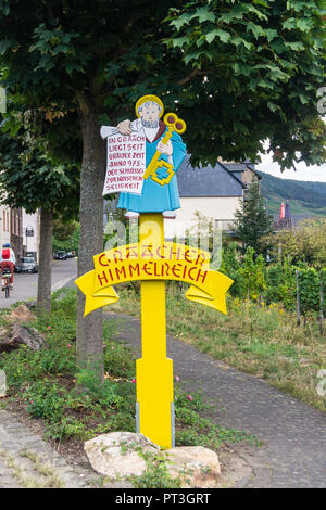 Graach painted village sign, Mosel valley, Rheinland-Pfalz, Germany - Stock Image