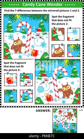 New Year or Christmas visual puzzles with candy cane, snowman and owl. Find the differences between the mirrored pictures. Spot the wrong fragments. - Stock Image