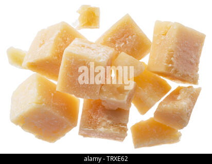 Parmesan cheese cubes isolated on white background. - Stock Image