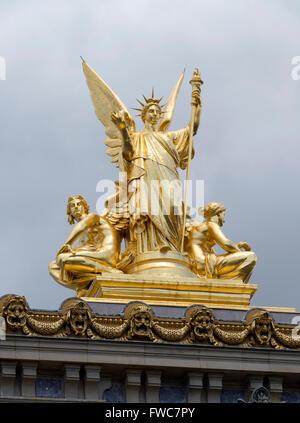 Gumery Poetry statue at the Opéra National de Paris Garnier, Paris, France. - Stock Image