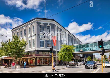 8 January 2019: Christchurch, New Zealand - The Crossing, a new shopping mall built to replace what was lost in the 2011 earthquake. - Stock Image