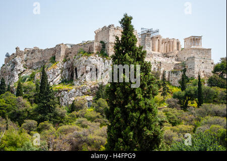 Athens, Greece. View from Areopagus below the Acropolis. The Propylaea. - Stock Image