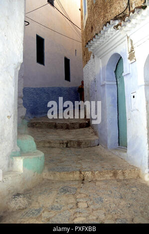 Passageway with steps into the Chefchaouen streets, Morocco, North Africa - Stock Image