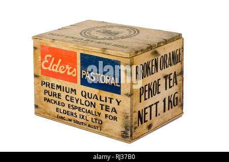 Small Wooden Box previously containing 1kg of Pure Ceylon Broken Orange Pekoe Tea. - Stock Image
