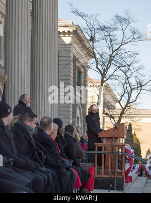 Mineola, New York, USA. January 1, 2018. Historic swearing-In of LAURA CURRAN as Nassau County Executive, the first - Stock Image