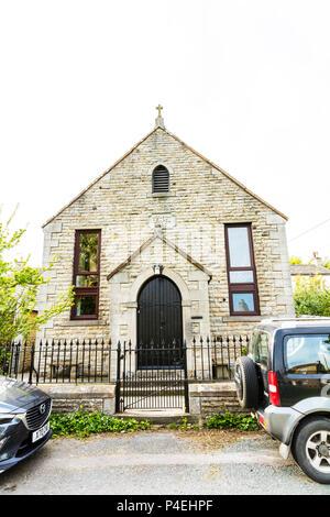 Wesleyan Chapel Carperby Yorkshire UK, John Wesleys Chapel Carperby Yorkshire UK, John Wesley Chapel, building, exterior, front, facade, chapels, - Stock Image