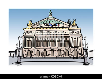 Illustration of the Opera Garnier in Paris, France - Stock Image