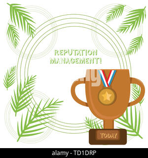 Conceptual hand writing showing Reputation Management. Concept meaning Influence and Control the Image Brand Restoration Trophy Cup on Pedestal with P - Stock Image