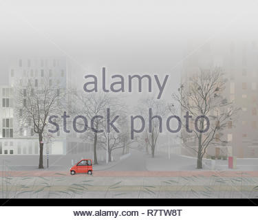 Man driving small car in empty foggy city street - Stock Image