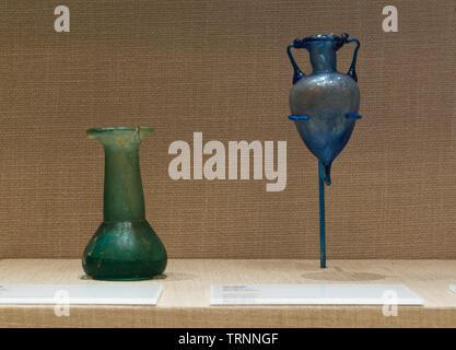 Glass bottles. Unguentarium. Roman Period. Beirut, Lebanon. Directorate General of Antiquities-Lebanon. - Stock Image
