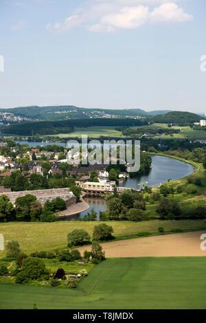 Deutschland, Nordrhein-Westfalen, Wetter (Ruhr), Blick von der Burgruine Volmarstein - Stock Image