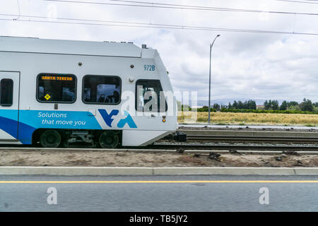 A Valley Transportation streetcar in the Silicon Valley California USA - Stock Image