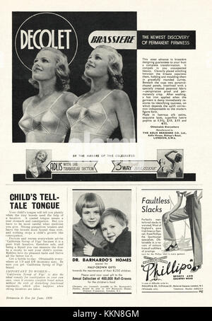 1939 UK Magazine Decolet Bras Advert - Stock Image
