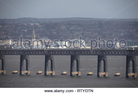 Tay Rail Bridge and Dundee Waterfront Scotland  February 2019 - Stock Image