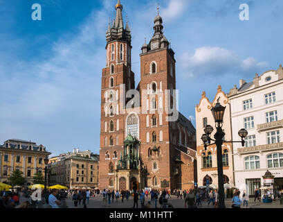 Church of Our Lady Assumed into Heaven (also known as St. Mary's Church), a city landmark in Old Town, Krakow, - Stock Image