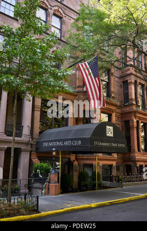 Entrance of the National Arts Club on East 20th street - 15 Gramercy Park South - Stock Image