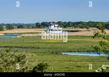 Sightseeing boat near Prerow harbor,  sailing on Prerowstrom (or: Prerower Strom),  Baltic Sea, peninsula of Fischland - Stock Image