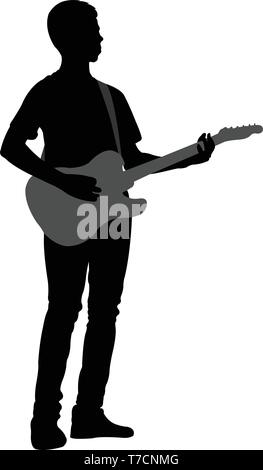 young man playing electric guitar - vector - Stock Image