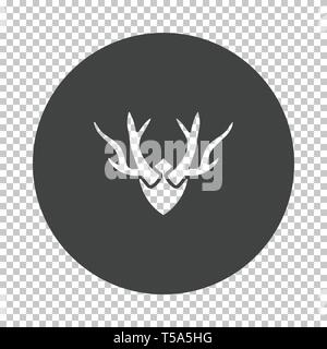 Deer's antlers  icon. Subtract stencil design on tranparency grid. Vector illustration. - Stock Image