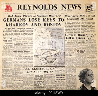 'Germans Lose Keys to Kharkov and Rostov' Reynolds News second world war 2  newspaper headlines and map on 14 February 1943 in London Great Britain UK - Stock Image