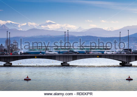 Zurich, Switzerland - view of the Limmat river with its busy bridges - Stock Image