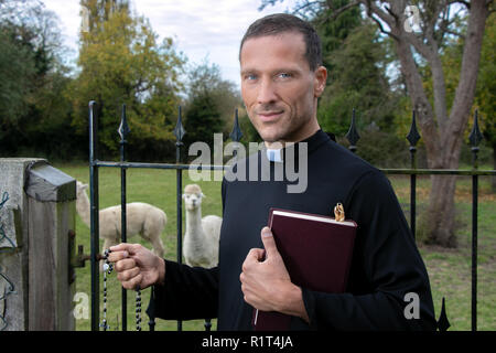 Handsome priest stands next to iron gate of field with trees and alpacas in background - Stock Image