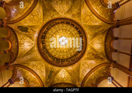Domed ceiling in Rotunda or main lobby in Flagler College in historic St Augustine Florida the former Hotel Ponce de Leon is listed as a National Hist - Stock Image