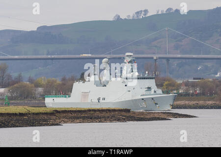 Glasgow, Scotland, UK. 28th Mar, 2019. Exercise Joint Warrior preparations on the River Clyde, Glasgow. The Danish HDMS Absalon L16 passes the Erskine Bridge over the River Clyde as she arrives in Glasgow ahead of her participation alongside warships, submarines and aircraft from 13 other countries in the two-week exercise in Scotland between March 30 and April 11 Credit: Kay Roxby/Alamy Live News - Stock Image