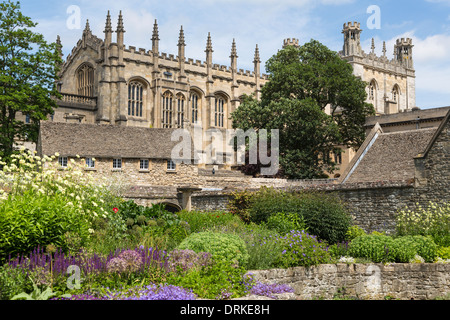 Christ Church gardens and cathedral, Oxford University, England - Stock Image