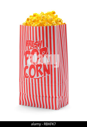 Red and White Striped Popcorn Bag Isolated on White Background. - Stock Image