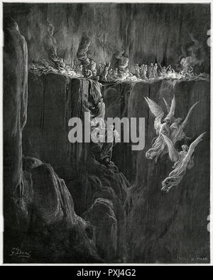 """""""Here the rocky precipice hurls forth redundant flames"""": angels are prevented from providing succour to the souls of the precipice.     Date: First published: 1307-21? - Stock Image"""