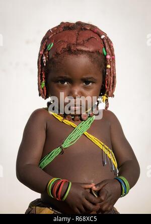 Mwila tribe girl, Huila Province, Lubango, Angola - Stock Image