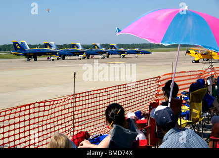 Spectators watching airshow and waiting for the Blue Angels to perform - Stock Image