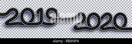 2019-2020. Symbolizes the transition to the New Year. The road with markings is stylized as an inscription. On a transparent background. Illustration - Stock Image