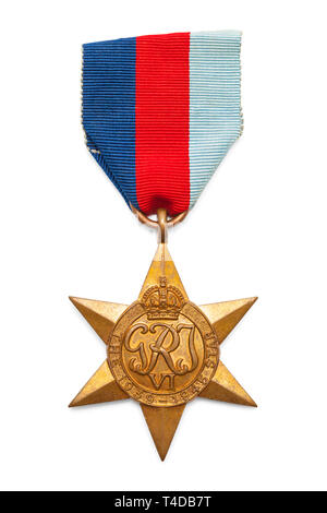 British World War Two Military Service Star Medal Cut Out on White. - Stock Image