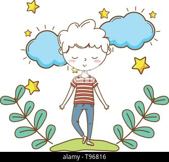 Stylish boy blushing cartoon outfit jeans stripped tshirt  clouds and stars background vector illustration graphic design - Stock Image