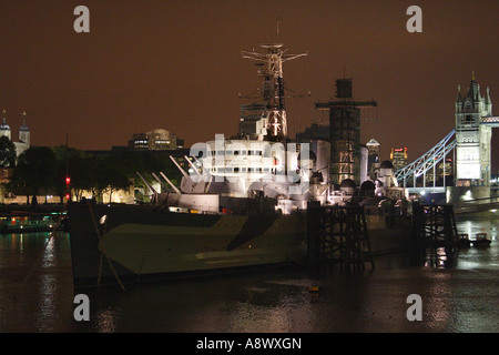 HMS Belfast at night London - Stock Image