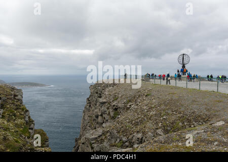NorthCape is a famous tourist attraction far north in Norway. - Stock Image