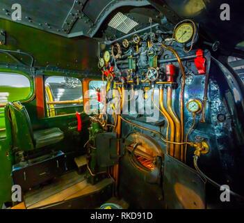 Drivers cab Ex-LNER V2 class steam locomotive engine Green Arrow on display at the NRM Shildon UK - Stock Image