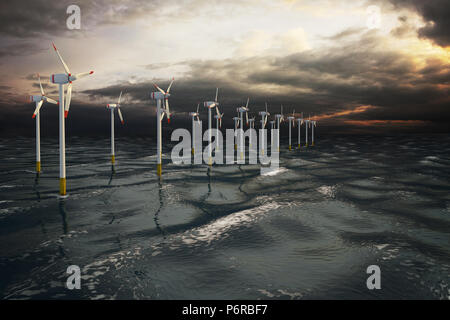 Wind turbines generating electricity on the ocean. Eco power, storm water. - Stock Image