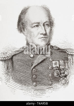 Admiral William Henry Smyth, 1788 – 1865.  Royal Navy officer, hydrographer, astronomer and numismatist.  From The Illustrated London News, published 1865. - Stock Image