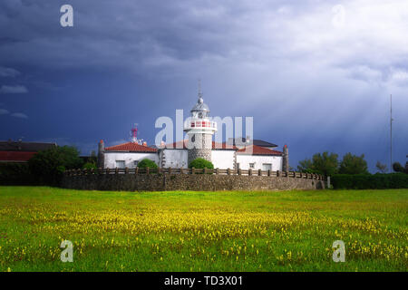 Getxo lighthouse in La Galea with beautiful stormy light - Stock Image