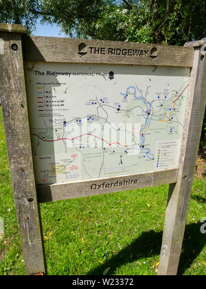 The Ridgeway Sign with Map and Information, South Stoke, Oxfordshire, England, UK, GB. - Stock Image