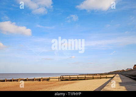 A view eastwards along the beach in North Norfolk at Bacton-on-Sea, Norfolk, England, United Kingdom, Europe. - Stock Image