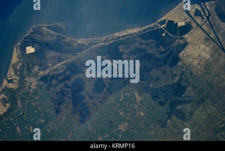 Lake Manzala, image from space shuttle - crop - Stock Image