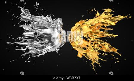 silver and golden fluid splash on black background. suitable for fluid, color and paint themes. 3d illustration - Stock Image