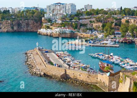 Kaleici Yat Limani, old town yacht harbour, Antalya, Turkey, Eurasia - Stock Image