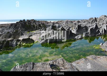 Rock Pools on Woolacombe Beach, Woolacombe Bay, Devon, UK - Stock Image