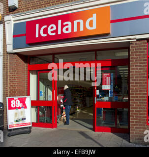 Entrance to Iceland shop with bargain milk sign - Stock Image