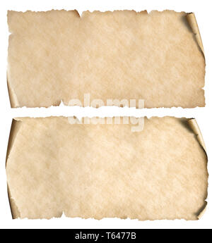 Horizontal old narrow papers set isolated on white - Stock Image